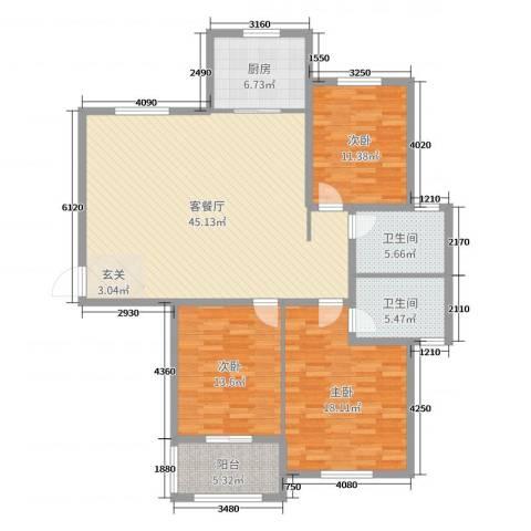 紫薇壹�二期3室2厅2卫1厨140.00㎡户型图