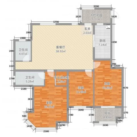 紫薇壹�二期3室2厅2卫1厨142.00㎡户型图