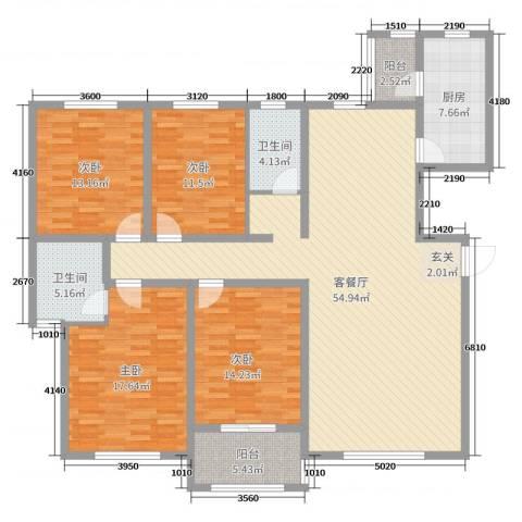 紫薇壹�二期4室2厅2卫1厨170.00㎡户型图