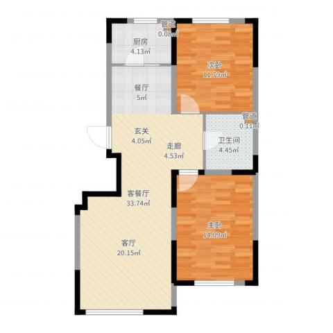 华亿红府2室2厅1卫1厨85.00㎡户型图