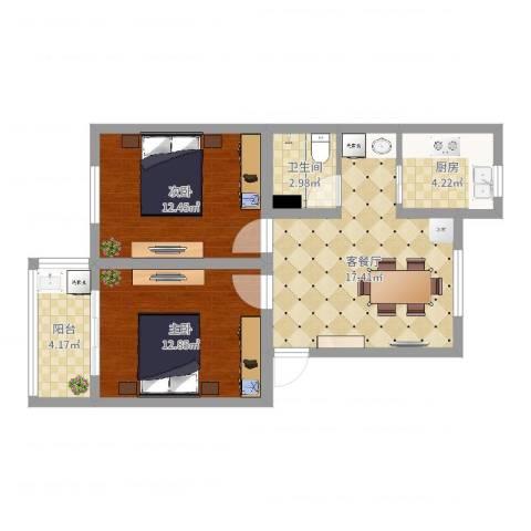 夏园新村2室2厅1卫1厨68.00㎡户型图