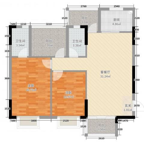 盈富馨园2室2厅2卫1厨108.00㎡户型图