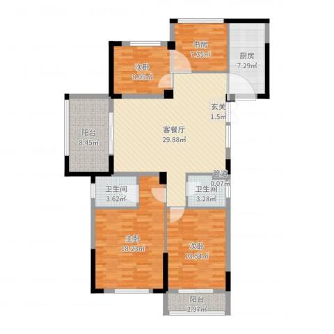 金色阳光花园4室2厅2卫1厨128.00㎡户型图