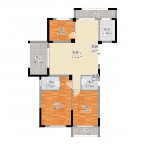 金色阳光花园3室2厅2卫1厨128.00㎡户型图