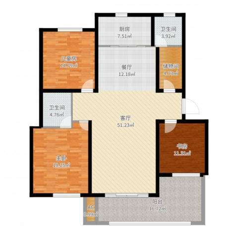 玛瑙花园3室1厅2卫1厨168.00㎡户型图