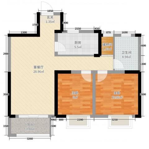 民生・瞰江郡2室2厅1卫1厨91.00㎡户型图