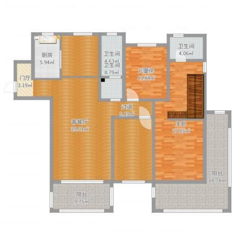 红星海艺墅2室2厅2卫1厨170.00㎡户型图