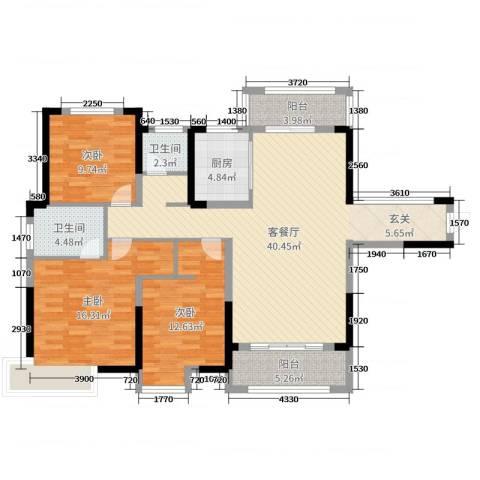 香颂小镇3室2厅2卫1厨125.00㎡户型图