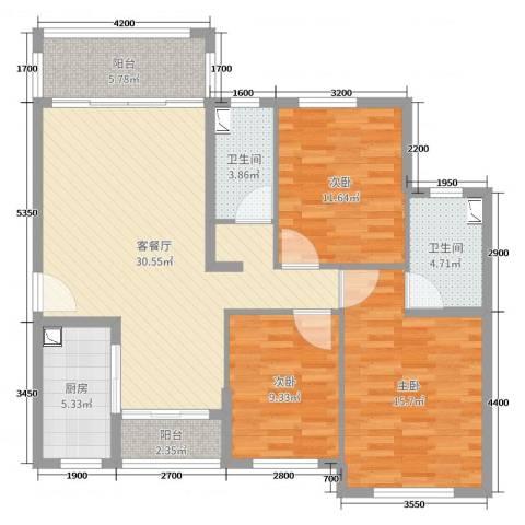君华硅谷3室2厅2卫1厨118.00㎡户型图