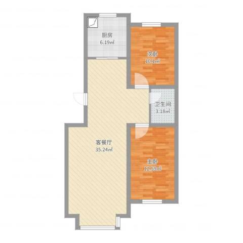 惠德花园2室2厅1卫1厨84.00㎡户型图