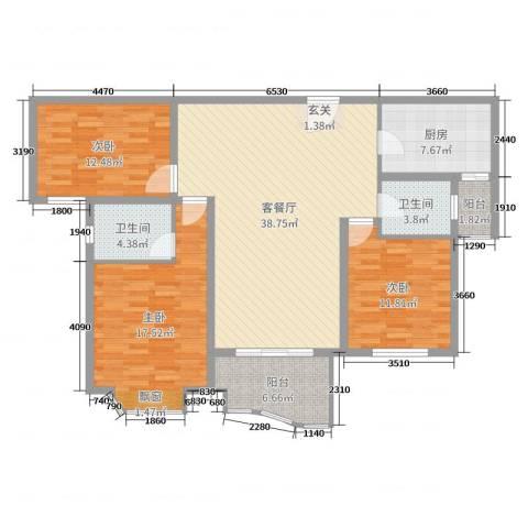 翔宇壹号3室2厅2卫1厨131.00㎡户型图