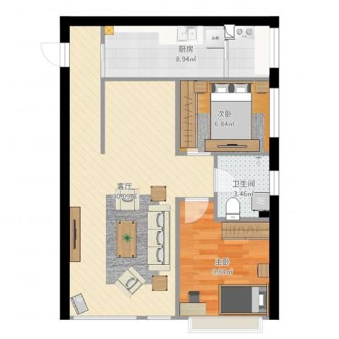 京江华府2室1厅1卫1厨74.00㎡户型图