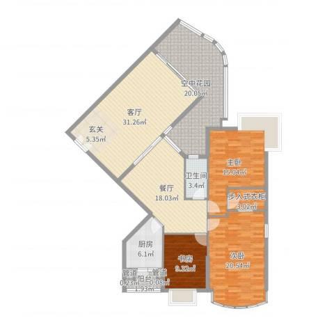 滨江明珠3室2厅1卫1厨161.00㎡户型图