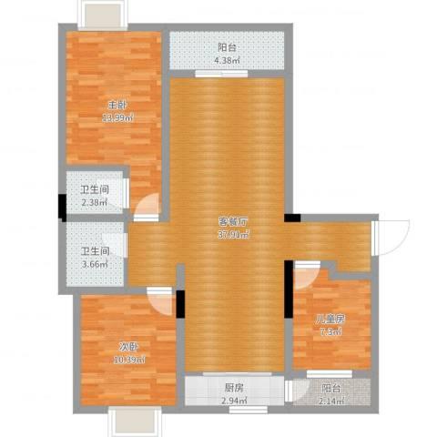 南通碧桂园3室2厅2卫1厨106.00㎡户型图