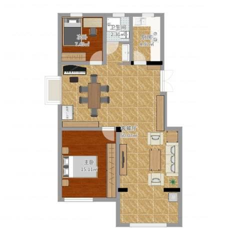 建联学府景园2室2厅1卫1厨100.00㎡户型图
