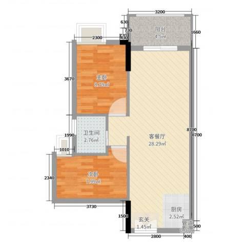 水岸珑庭2室2厅1卫0厨69.00㎡户型图