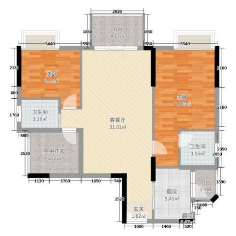 水岸珑庭2室2厅2卫1厨104.00㎡户型图