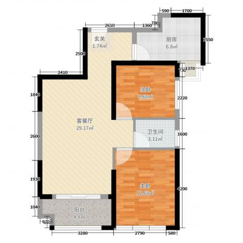华尔国际2室2厅1卫1厨81.00㎡户型图