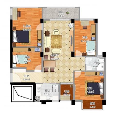 时尚国际5室2厅1卫1厨132.00㎡户型图