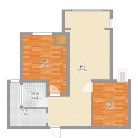 瑞和城2室1厅1卫1厨73.00㎡户型图