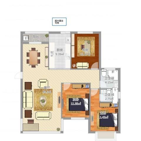 天水家园二期3室1厅2卫1厨124.00㎡户型图