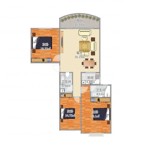 假日香港广场3室1厅2卫1厨150.00㎡户型图