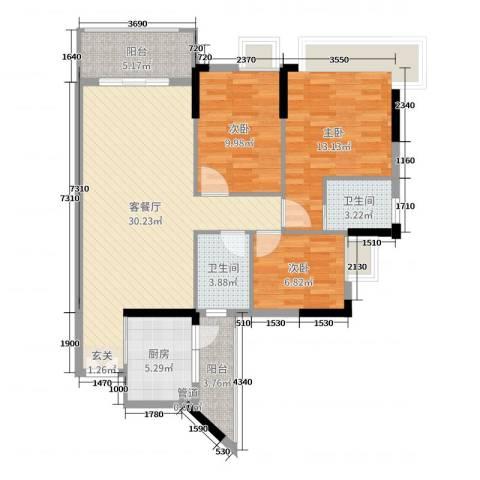 水岸珑庭3室2厅2卫1厨104.00㎡户型图