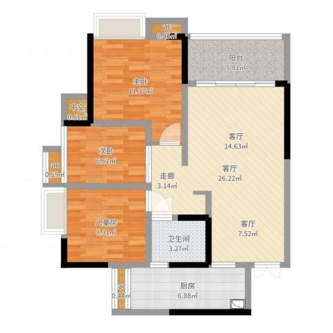 万友七季城3室1厅1卫1厨88.00㎡户型图