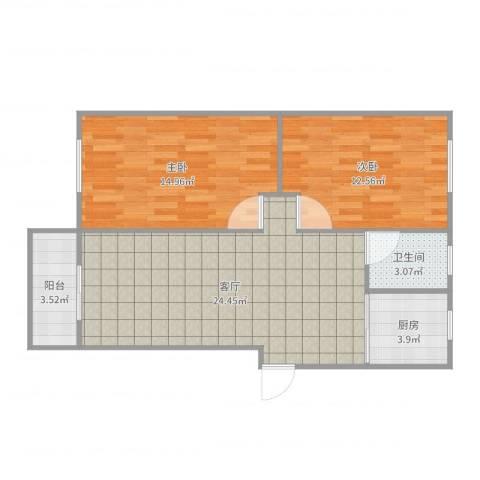 水秀新村2室1厅1卫1厨78.00㎡户型图