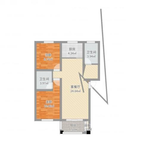 翠湖新村2室2厅2卫1厨75.00㎡户型图