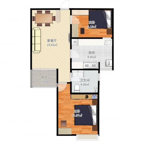 天润城十四街区2室2厅1卫1厨76.00㎡户型图