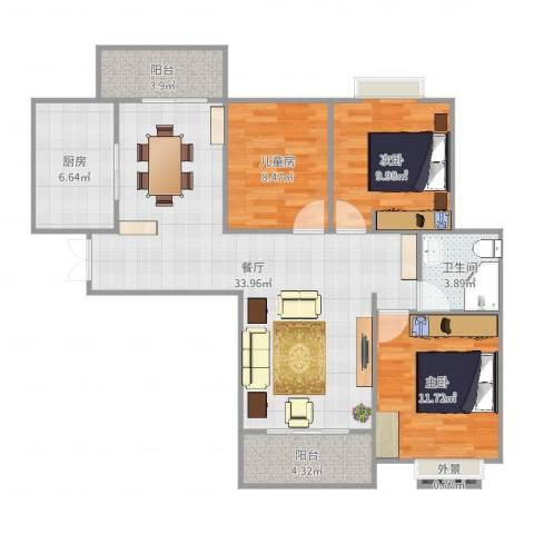 华美达广场3室1厅1卫1厨83.65㎡户型图