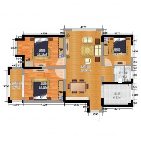 博士苑3室2厅1卫1厨109.00㎡户型图