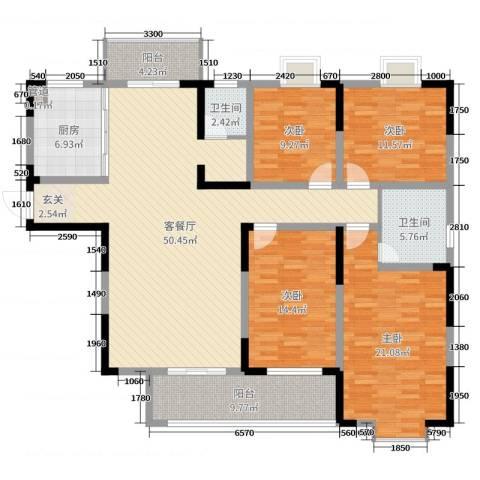 路通沁园4室2厅2卫1厨250.00㎡户型图