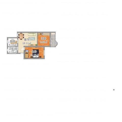 平吉二村2室1厅1卫1厨66.00㎡户型图