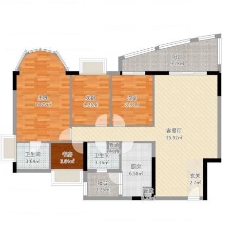 逸景翠园御景轩4室2厅2卫1厨129.00㎡户型图