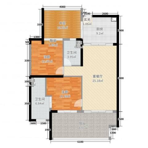 华润・石梅湾九里2室2厅2卫1厨97.00㎡户型图