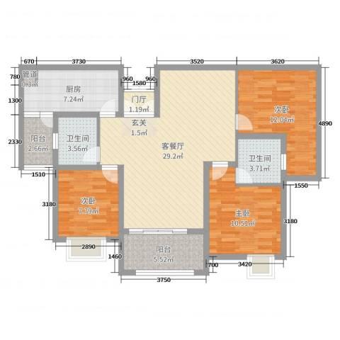 秦岭北麓3室2厅2卫1厨105.00㎡户型图