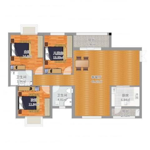 石狮市凤凰城9A2605简欧3室2厅2卫1厨140.00㎡户型图