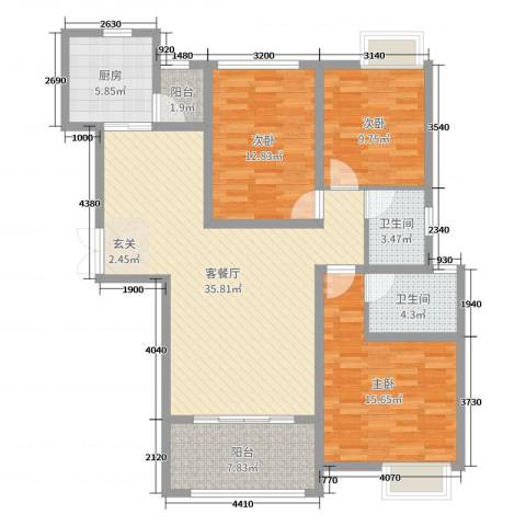 秦岭北麓3室2厅2卫1厨122.00㎡户型图