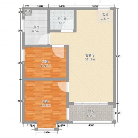 新时代广场2室2厅1卫1厨130.00㎡户型图