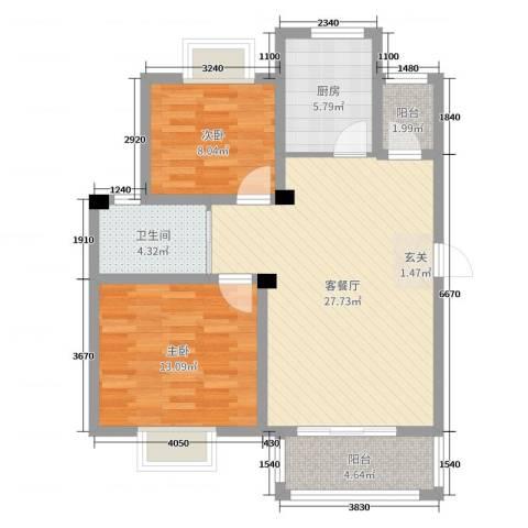 万邦金地花园2室2厅1卫1厨82.00㎡户型图