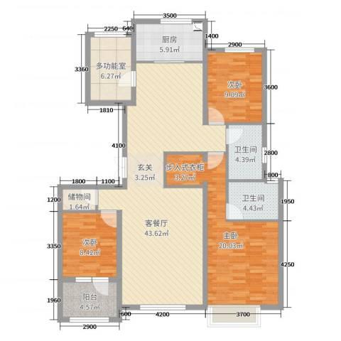 世嘉・正园3室2厅2卫1厨139.00㎡户型图