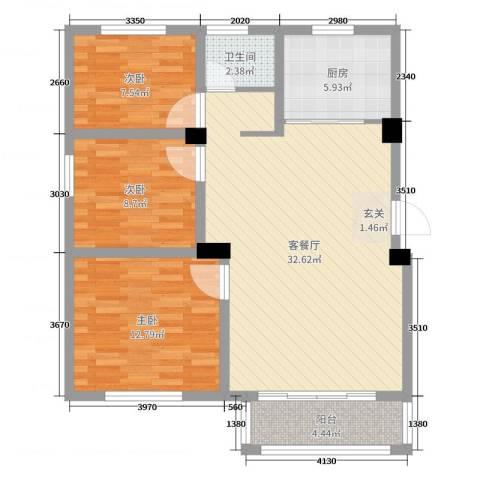 万邦金地花园3室2厅1卫1厨93.00㎡户型图