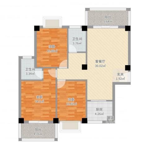未来海岸系蓝水郡3室2厅2卫1厨109.00㎡户型图