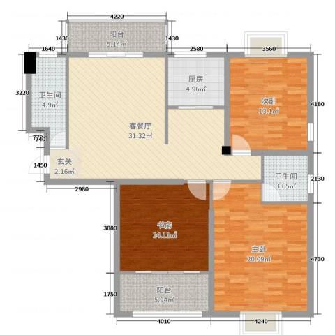 罗马景福城3室2厅2卫1厨129.00㎡户型图