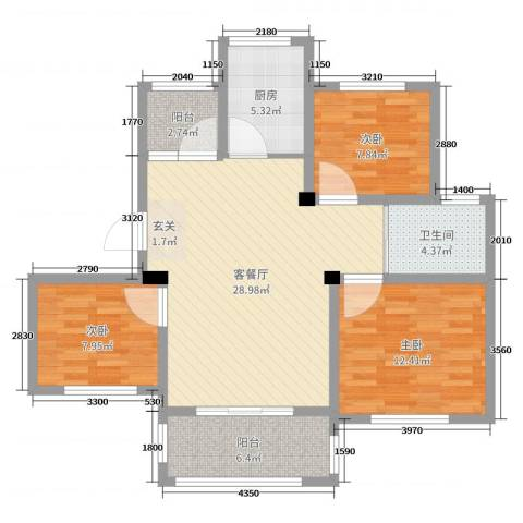 万邦金地花园3室2厅1卫1厨95.00㎡户型图