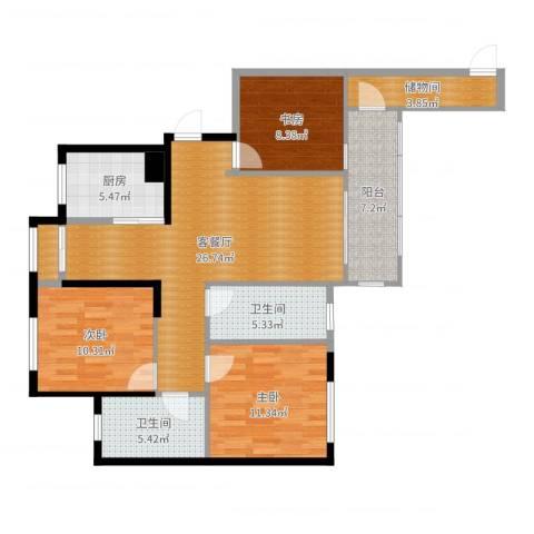 力高阳光海岸3室2厅2卫1厨106.00㎡户型图