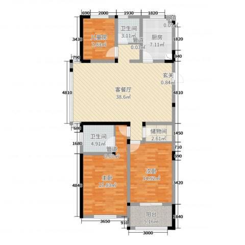 世纪华城二期铂晶湾3室2厅2卫1厨128.00㎡户型图