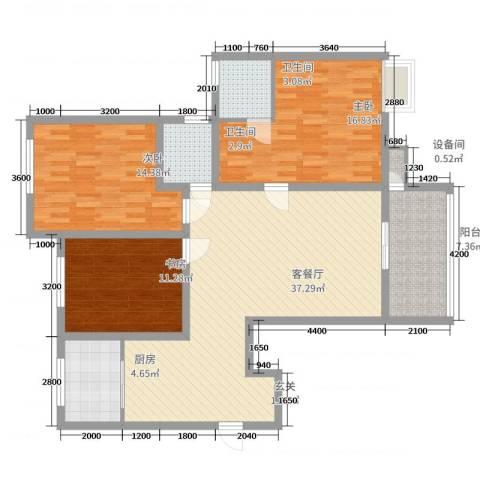 三星凤凰府3室2厅2卫1厨136.00㎡户型图